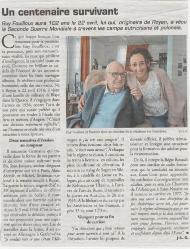 Article du journal LeLittoral - avril 2018