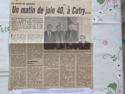 Histoire de Cutry (Meurthe et Moselle)impliquant le 100e de Lille